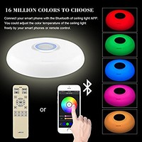 Led Music Ceiling Light with Bluetooth Speaker 25W, Modern Light Fixtures with RGB Color Changing,17.7inch 60W Home Party Light with Remote Control for Bedroom Living Room Dining Room Wedding(Blue)