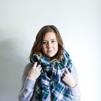 Large Flannel Blanket Scarf Fringe Plaid Shawl | WANDERLUST