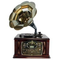 Back to The 50's Executive Antique Trumpet Horn Turntable-Phonograph with encode function
