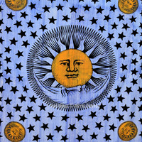 Multi Tie Dye Blue Sun Moon and Stars Wall Tapestry, Hippie Indian Bedding on RoyalFurnish.com