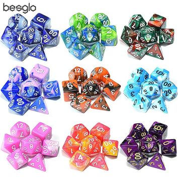 Polyhedral Dice Set for Dungeons and Dragon RPG MTG Board Games D4 D6 D8 D10 D% D12 D20 and Collection