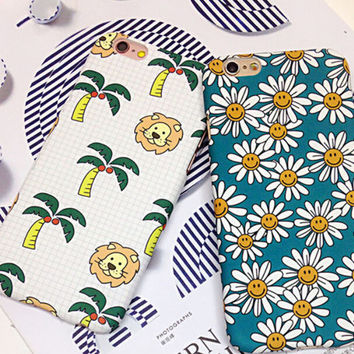 Cute Lion Coconut Tree Chrysanthemum Mobile Phone Case For iPhone 7 7 plus Iphone  5 5s SE 6 6s 6plus 6s plus + Nice gift box!