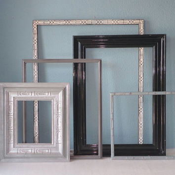 Mid Century Picture Frames in Shades of Black, White, Silver and Gray