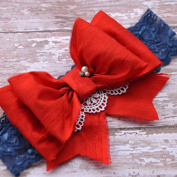 4th of July Red Silk Bow Headband OR clip- Red, White and Blue-Dupioni Silk Bow-Photo Prop-Dress up- Over the top bow- Boutique bow-