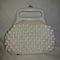 Mod 1960s Popcorn Beaded Handbag Purse LERNER SHOPS Italy