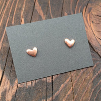 Tiny Lopsided Heart Stud Earrings in Copper with Sterling Silver Posts