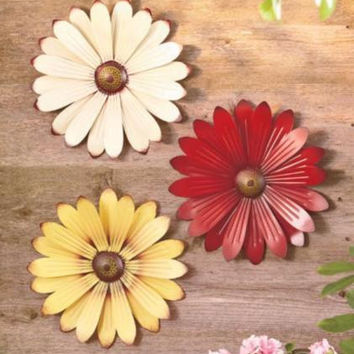 "Metal Wall Art Flowers Sculpture Hanging Indoor Outdoor 12"" Daisy Painted NEW"