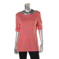 Karen Scott Womens Striped Cuff Sleeves Tunic Top