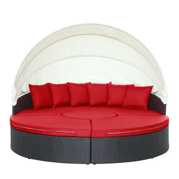 Quest Canopy Outdoor Patio Daybed in Espresso Red