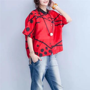 Yesno BV4 Women Loose Thin Blouse Shirt Button-Down 100% Silk Linen Casual Fit Printed