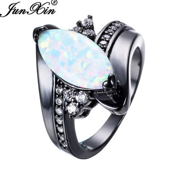 JUNXIN Fashion Rainbow Fire Opal Rings For Women Men Black Gold Filled Wedding Party Engagement Horse Eye Shape Ring Best Gifts