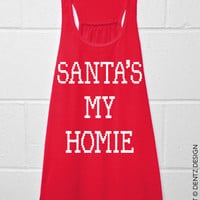 Santa's My Homie - Ugly Christmas Flowy Tank Top - Red