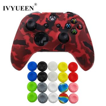 IVYUEEN Silicone Protective Skin Case for XBox One X S Controller Protector Camouflage Cover with 20 pcs Thumb Stick Grips Caps