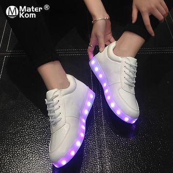 Size 30-43 Graffiti Luminous Sneakers with Light Soles Boys White USB Shoes Infant Tenis Led Glowing Shoes Kids Led Slippers 25