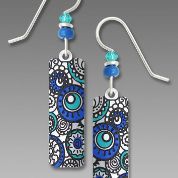 Adajio Earrings - White with Turquoise and Blue Circles