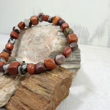 Stone Pebbles Bracelet, Clay stone beads, gray stone beads, Guy bracelet, guy gift, bracelet for men