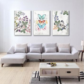 SURE LIFE Nordic Vintage Flower Bird Butterfly Canvas Paintings Wall Art Pictures Poster Print Living Room Home Decoration