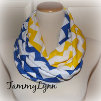 "Royal Blue and Yellow Chevron ""Buddy Walk"" Team Scarf Jersey Knit Infinity Tammy Lynns Creations"