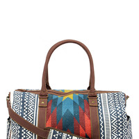 Tigerbear Republik Zeppo Blue Southwestern Print Weekender Bag