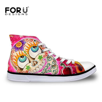 Korean style pink high-top canvas shoes plus size EUR 35-40 zapatos mujer funny emoji chaussure femme breathable skull flats