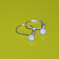 Australian Opal Dangle Earrings, 4mm Opal Stones, Sterling Silver Leverback Earwires, Opal Jewelry, 925 Sterling Silver