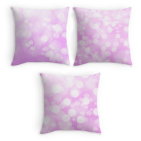 Pink Nursery Throw Pillow, Bokeh Bubbles Scatter Cushion, 16x16, Home Decor, Cushion Cover