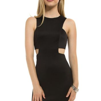 Teeze Me | Sleeveless Cutout Waist Tank Dress | Black