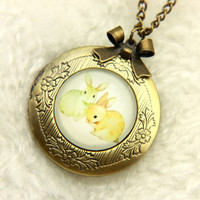 Necklace locket two bunnies