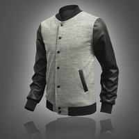 Men's Leather Personalized Baseball Stitching Jacket-Light Grey