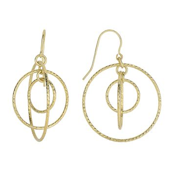 14K Yellow Gold 26.5X38.0mm Shiny+Diamond Cut 3 G Raduated Open Circle Drop Earring with Euro Wire C Lasp
