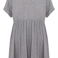 Grey Marl Jersey Oversized Smock Dress