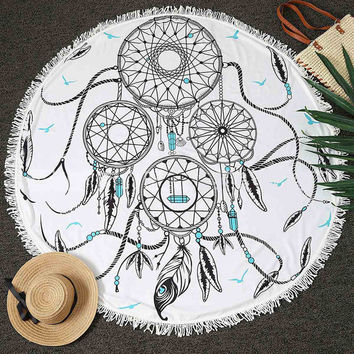 Dream Catcher Beach Towel 150CM Wall Hanging Tapestry Yoga Mat Throw Picnic Cloth Home Room Floor Decor Textiles Round