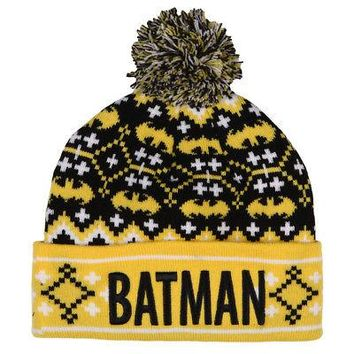 Batman Fair Isle Pattern w/ Pom DC Comics Licensed Adult Beanie Hat - Yellow/Blk