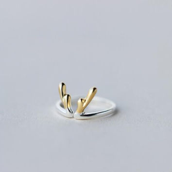 Christmas gifts-925 sterling silver double-color antlers ring + Nice gift box ALQ