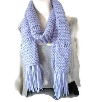 Knitted Wool Scarf, Long Wrap Scarf, Wool Scarf with tassels