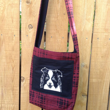 Hip Bag Tote for Books or Laptop with Border Collie Pocket in Red Brick Plaid