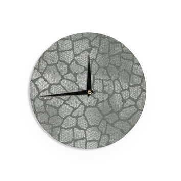 "Heidi Jennings ""Gray Snake Skin"" Grey Wall Clock"