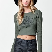 Kendall & Kylie Tie Back Long Sleeve T-Shirt - Womens Tee - Green