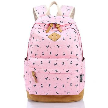 School Backpack 2017 Fashion Pink s for Teenage Girls Mochila Escolar Leather Canvas Printing Backpack School Bags AT_48_3