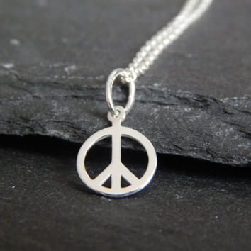 Tiny Sterling Silver Peace Sign Necklace - Peace Necklace - Peace Sign - Dainty Silver Necklace - Sterling Silver Necklaces - Peace