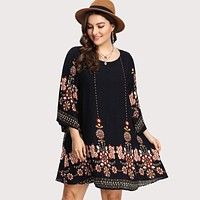 Black Plus Size Floral Embroidery Tunic Dress Elegant Large Sizes Tribal Flower Print Vocation Dress