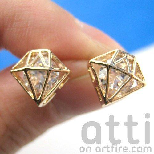 3D Diamond Shaped Rhinestone Shiny Bling Stud Earrings in Gold