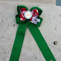 Christmas Twisted Boutique Hair Bow with Long Tails, Streamers, Red, Green and White Bow, Christmas Bow, Personalized Flattened Bottlecap