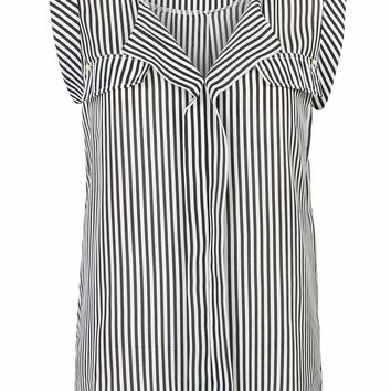 Black V-neck Stripe Print Stud Detail Sleeveless Chiffon Blouse