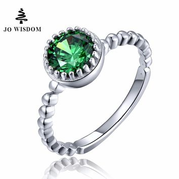 Silver Ring Green Ring with White Gold Engagement Rings For Women