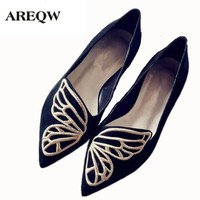 AREQW New Korean Spring Butterfly Embroidery Shoes Pointed  Female Shoes Women's Flat Shoes High Quality Comfortable Espadrilles