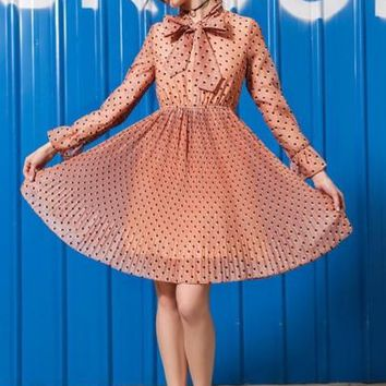 Tie Neck Polka Dots Women's Day Dress