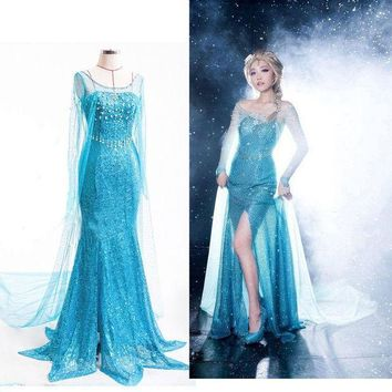 CREYYN6 Adult princess snow queen costume women Beauty and the Beast costume cosplay halloween costumes for women Prom dress custom