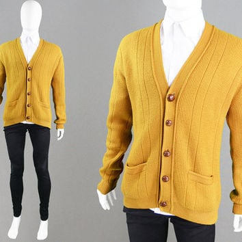 Vintage 50s 60s Mens Cardigan Mustard Yellow Wool Sweater Mod Cardigan Pure New Wool Knit Cardigan Sweater Made in Hong Kong 1950s Cardigan