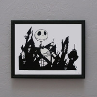 The Nightmare Before Christmas Jack Skellington  Hand cut black silhouette papercut